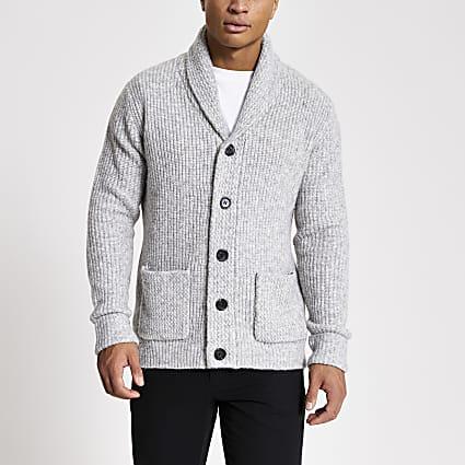 Grey shawl collar slim fit knitted cardigan
