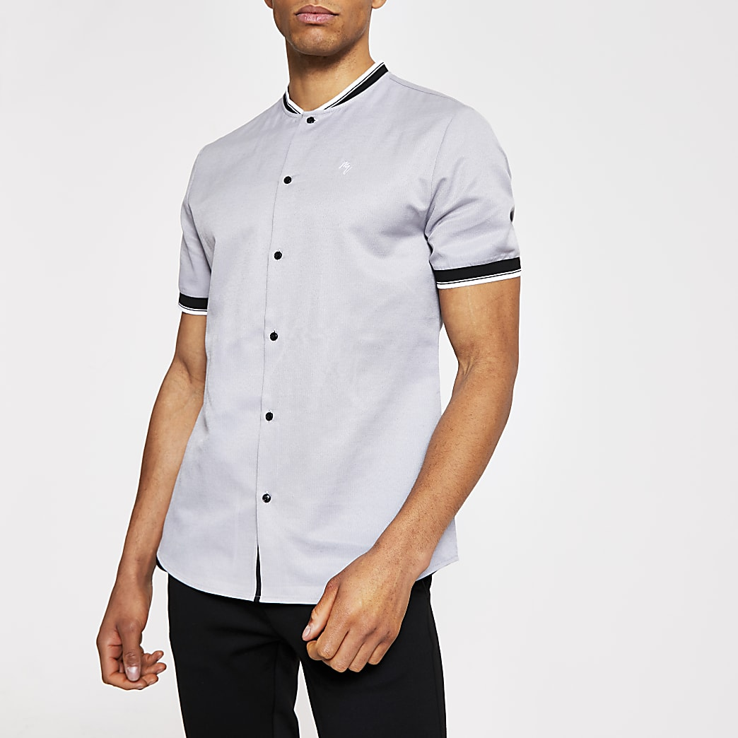 Grey short sleeve baseball neck polo shirt
