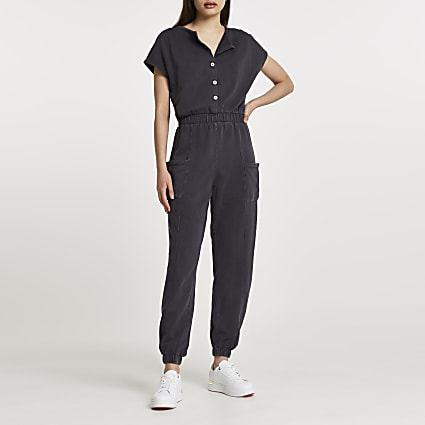 Grey short sleeve button denim jumpsuit