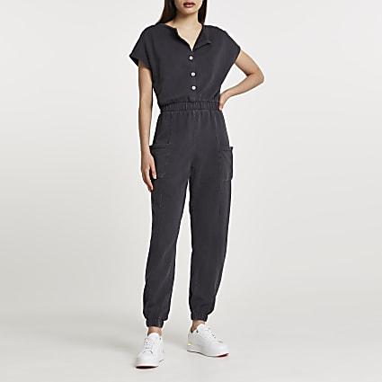 Grey short sleeve button jumpsuit