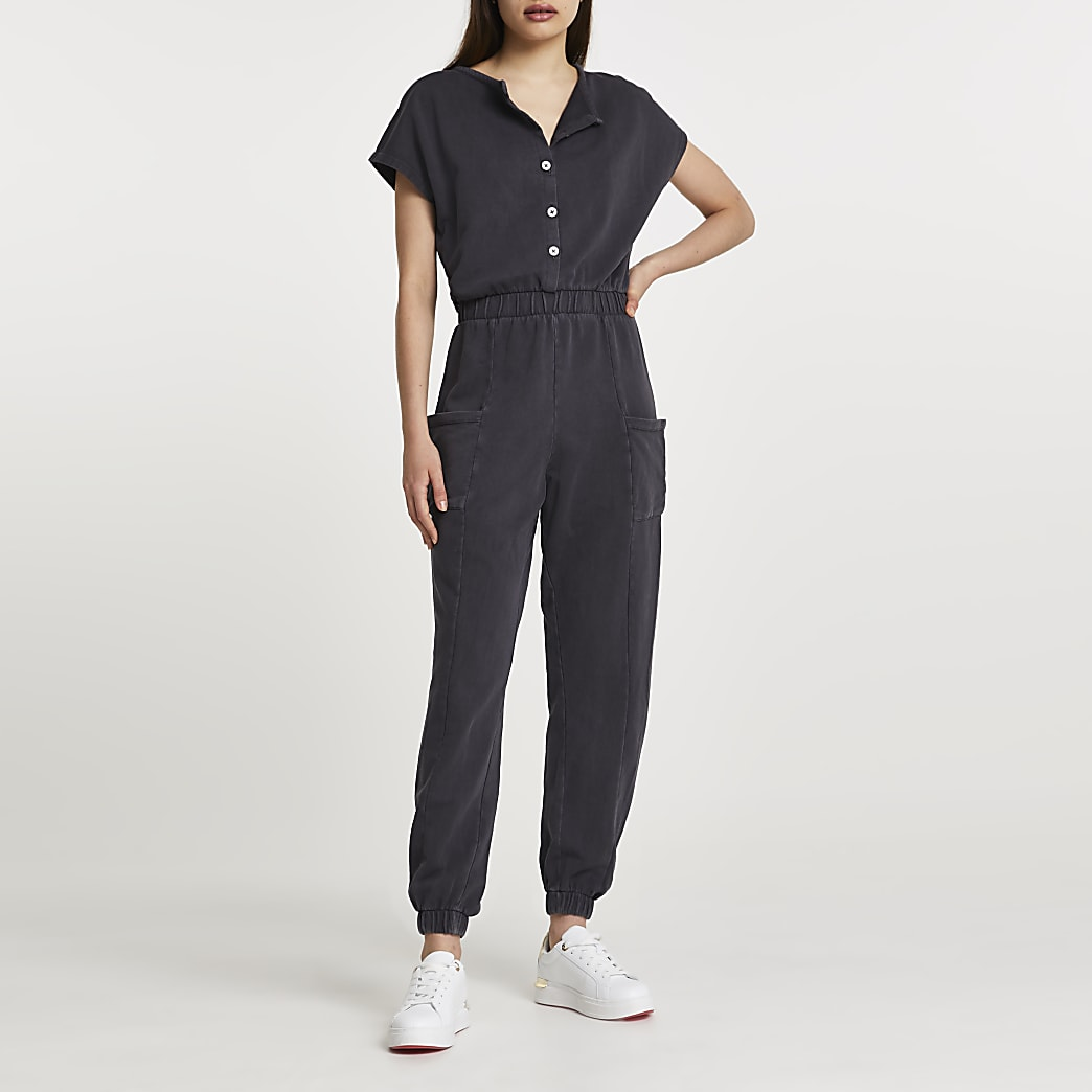 Grey short sleeve button jumpsuit