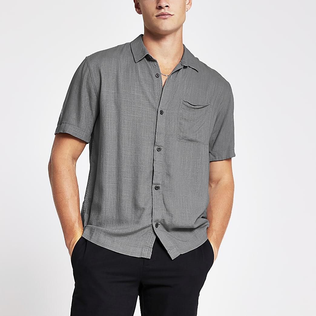 Grey short sleeve linen regular fit shirt