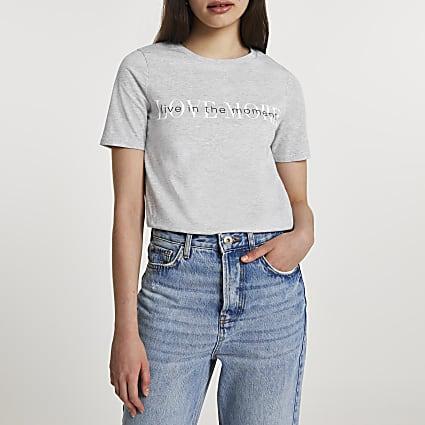 Grey short sleeve 'Love More' t-shirt