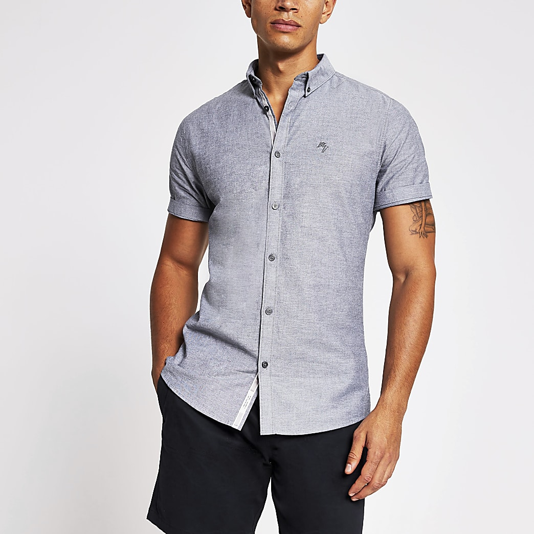 Grey short sleeve muscle fit oxford shirt