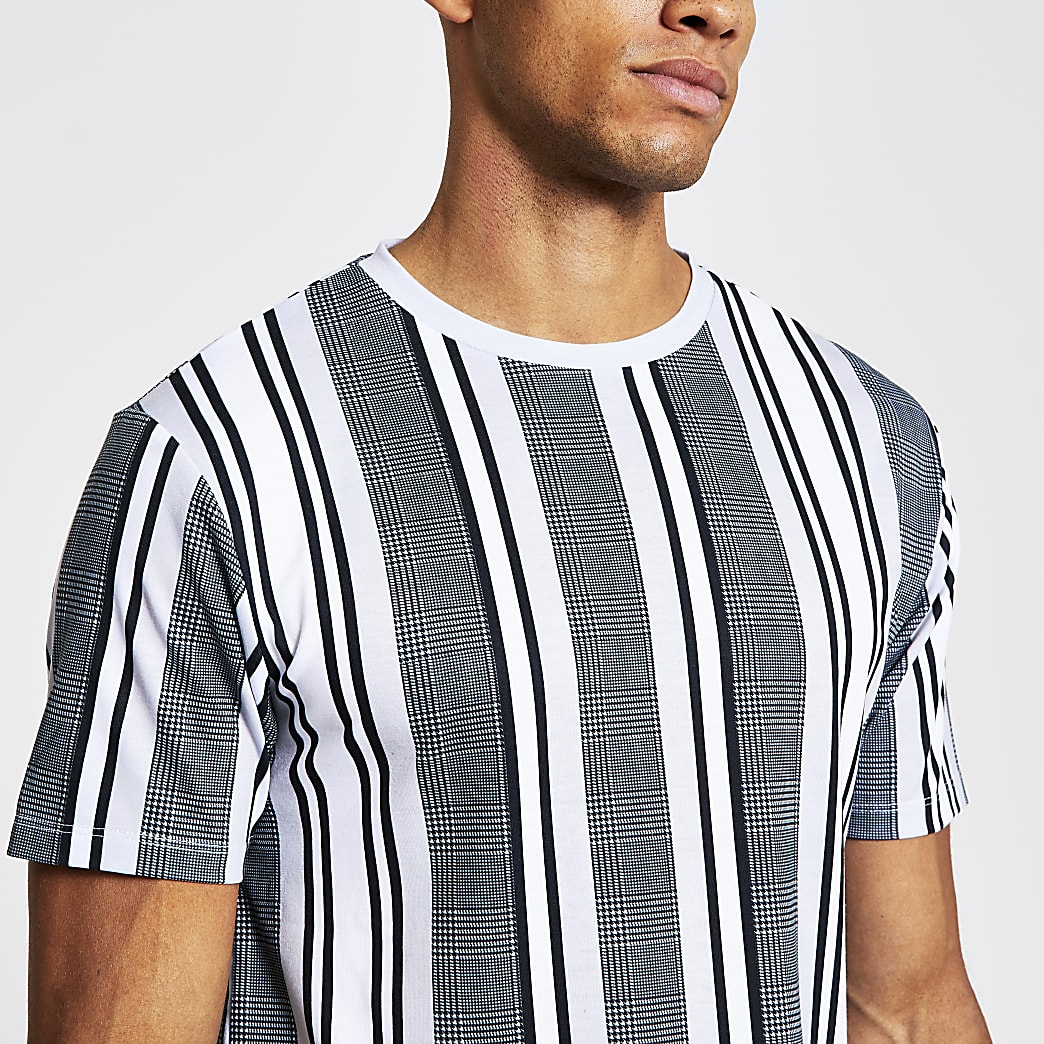 Grey short sleeve muscle fit stripe t-shirt