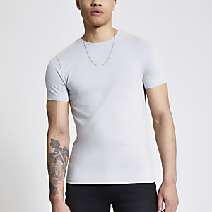 Graues, kurzärmliges Muscle Fit T-Shirt
