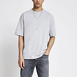 Kurzärmeliges Oversized-T-Shirt in Grau