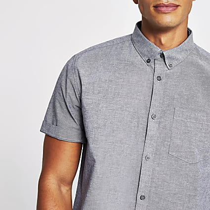 Grey short sleeve regular fit oxford shirt