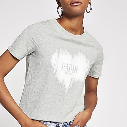 Grey short sleeve sketchy heart t-shirt