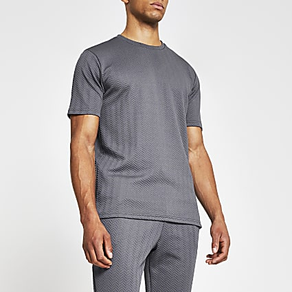Grey short sleeve slim chevron t-shirt