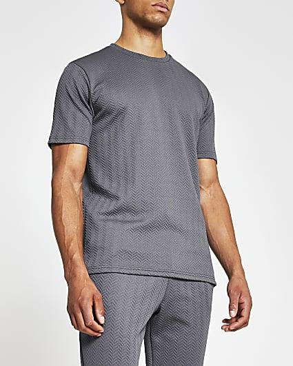 Grey short sleeve slim fit chevron t-shirt