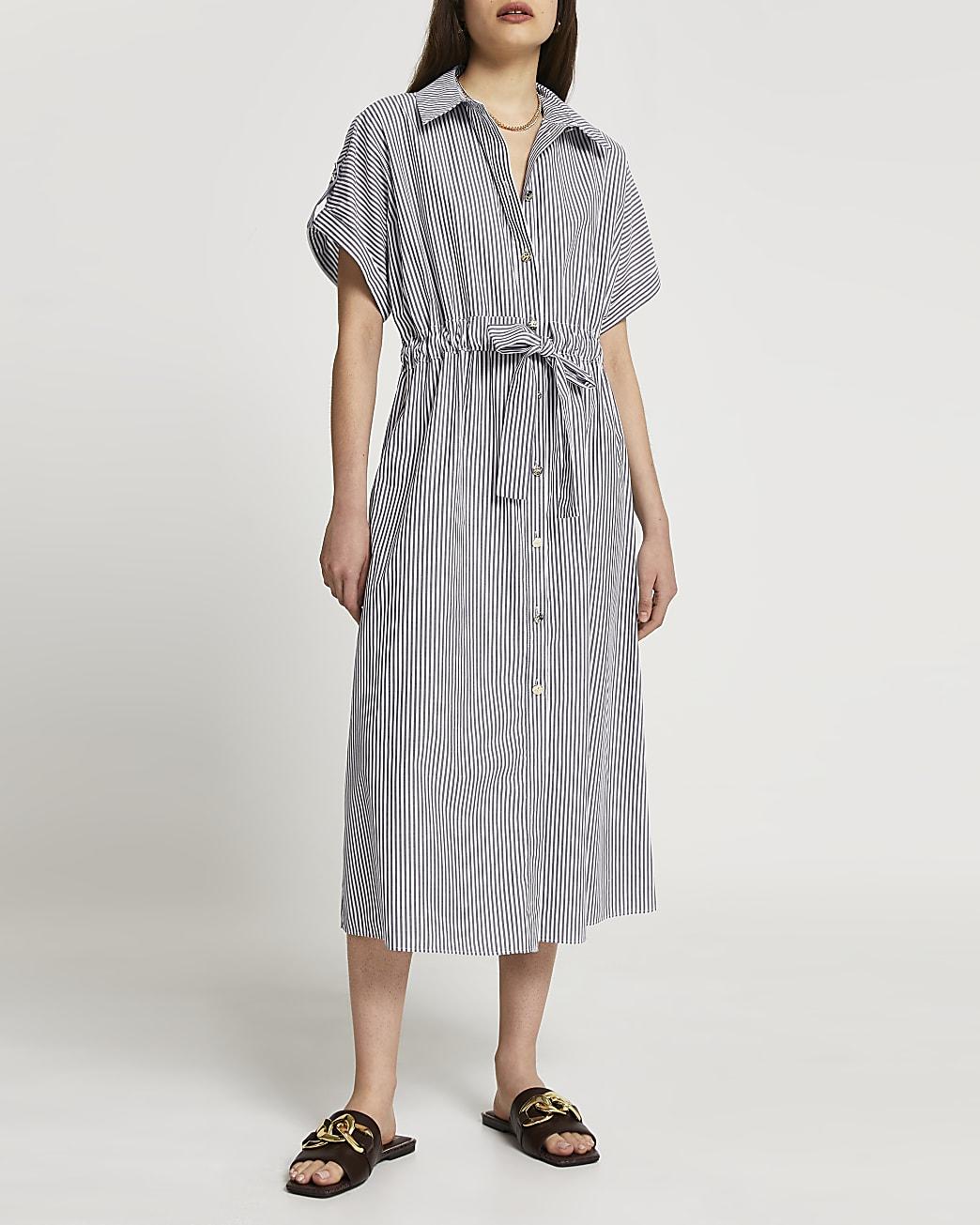 Grey short sleeve stripe midi shirt dress