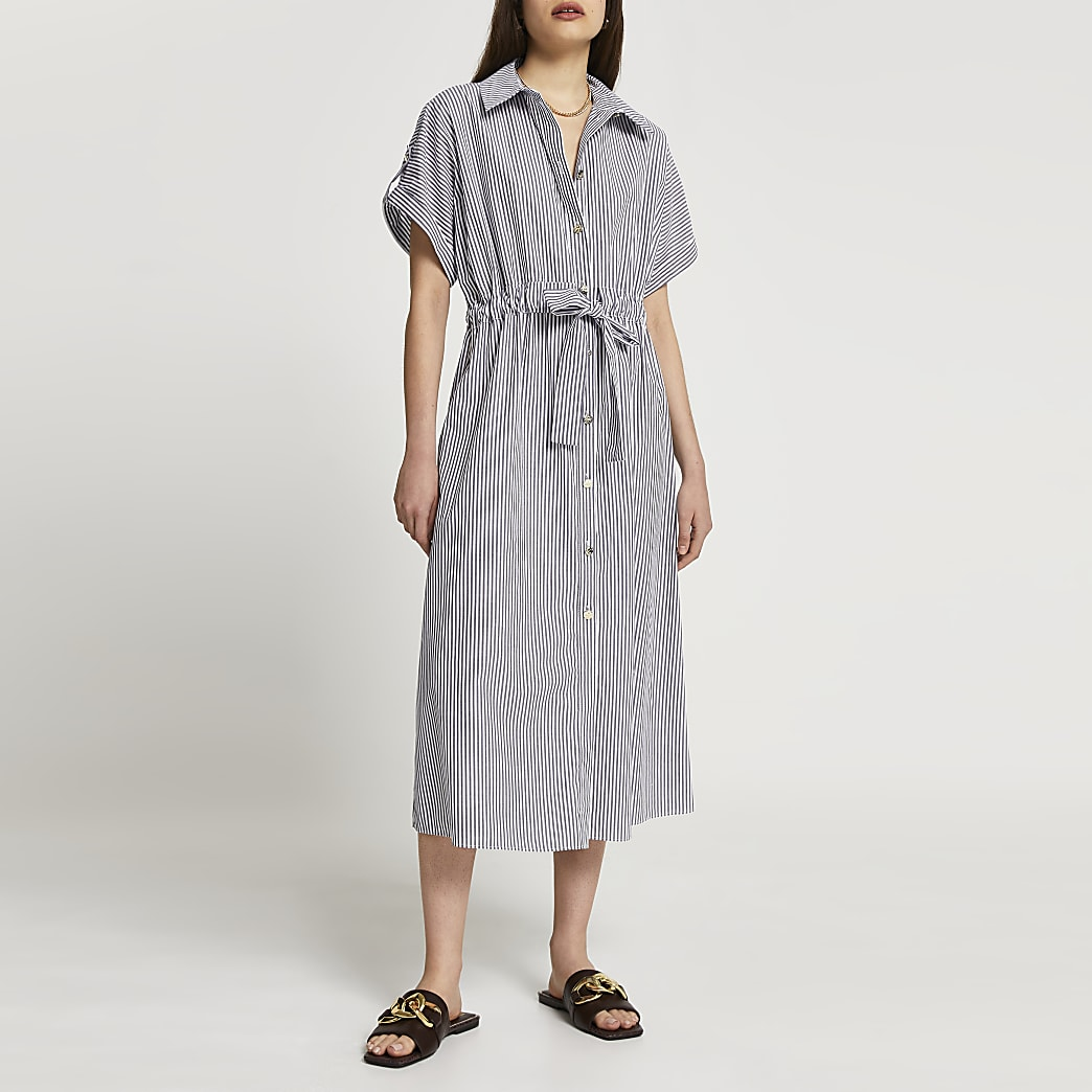Grey short sleeve stripe midi shirt dress