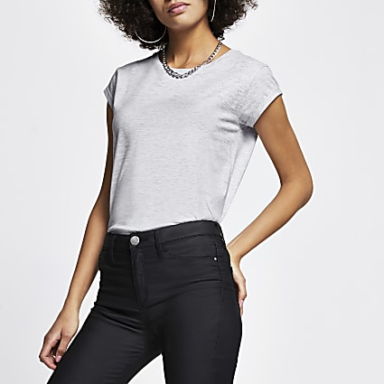 Grey short turn back sleeve t-shirt