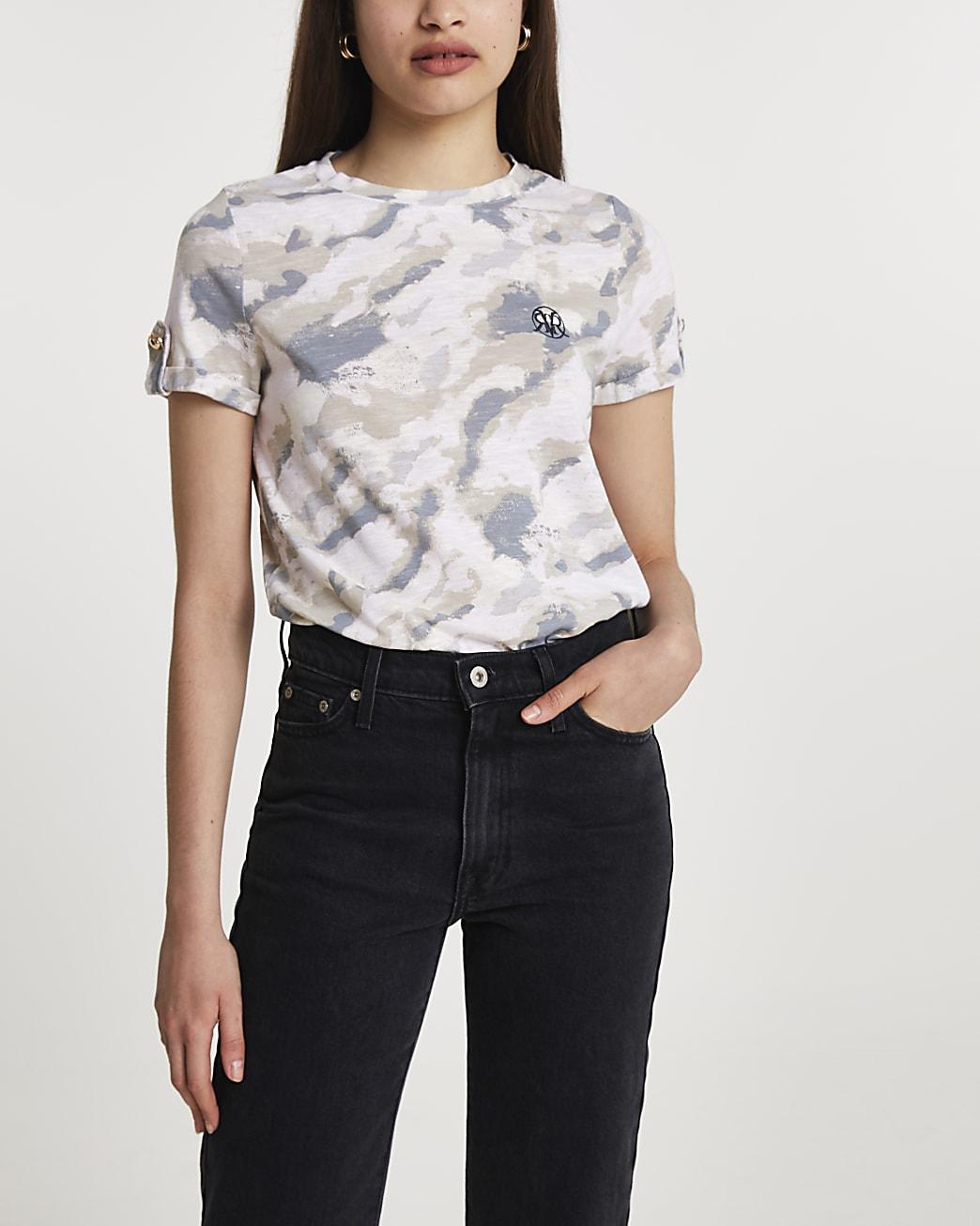 Grey short turn up sleeve camouflage t-shirt