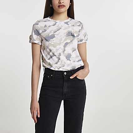 Grey short turn up sleeve camouflage t-shirt
