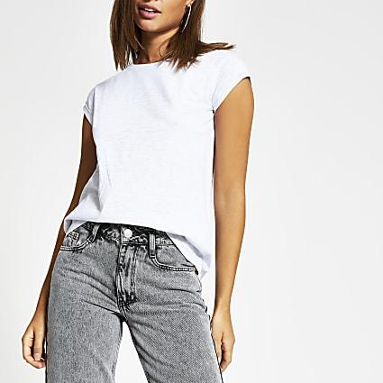 Grey short turn-up sleeve T-shirt