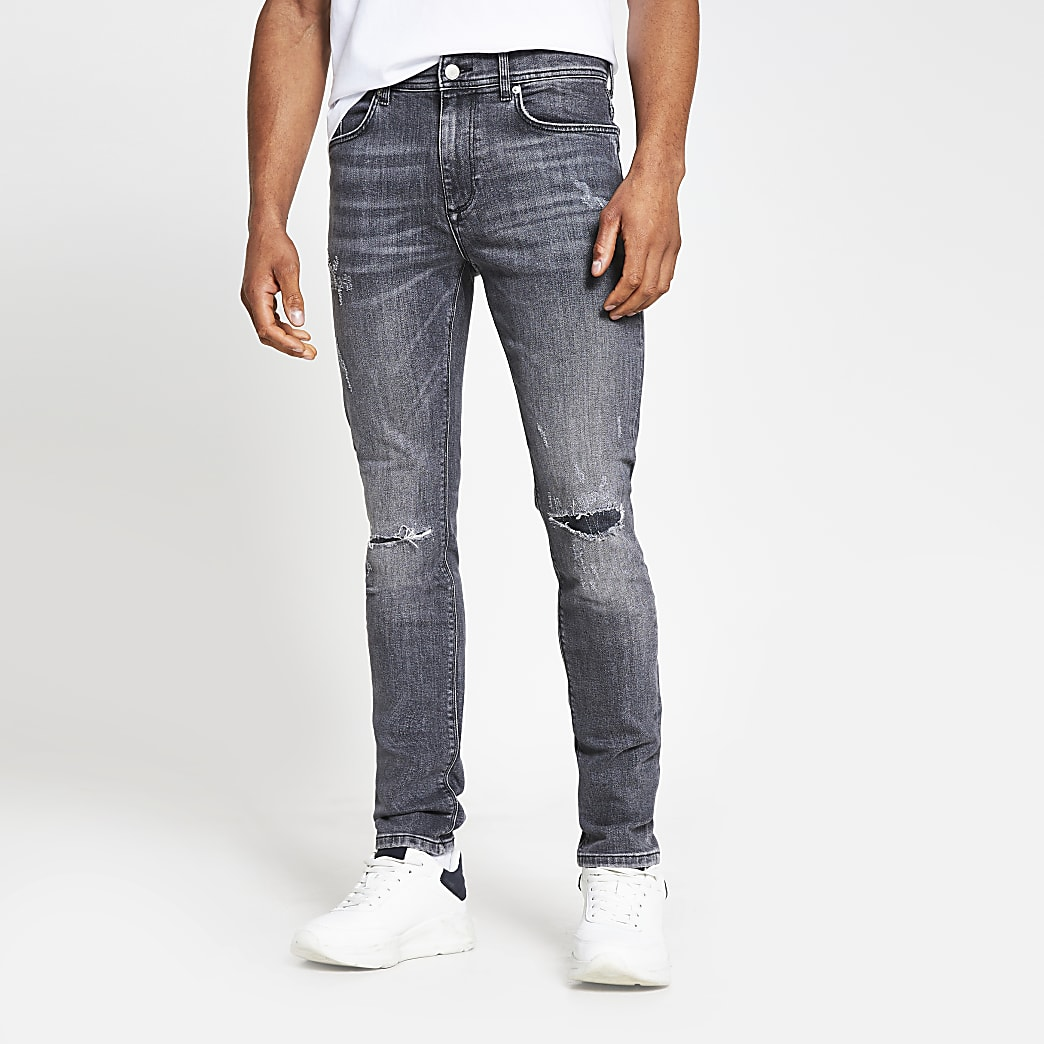 Grey Sid wash skinny denim jeans