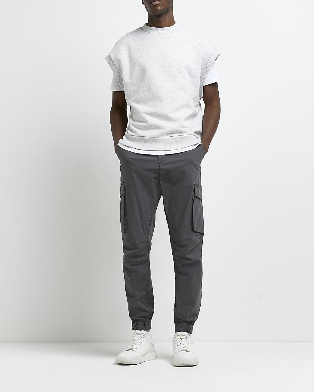 Grey side pocket cargo trousers
