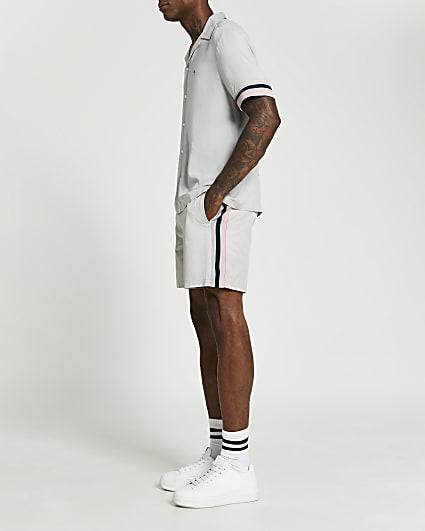 Grey side stripe elasticated waist shorts