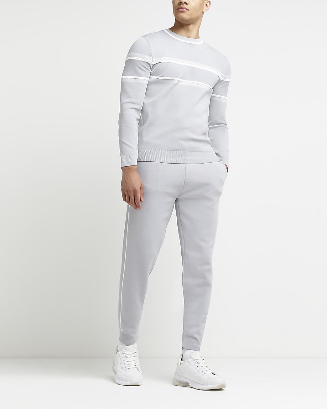 Grey side stripe slim fit joggers