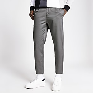 Grey single pleat tapered fit trousers
