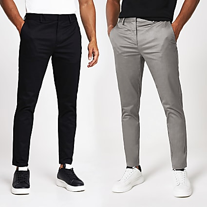 Grey skinny chino trousers 2 pack