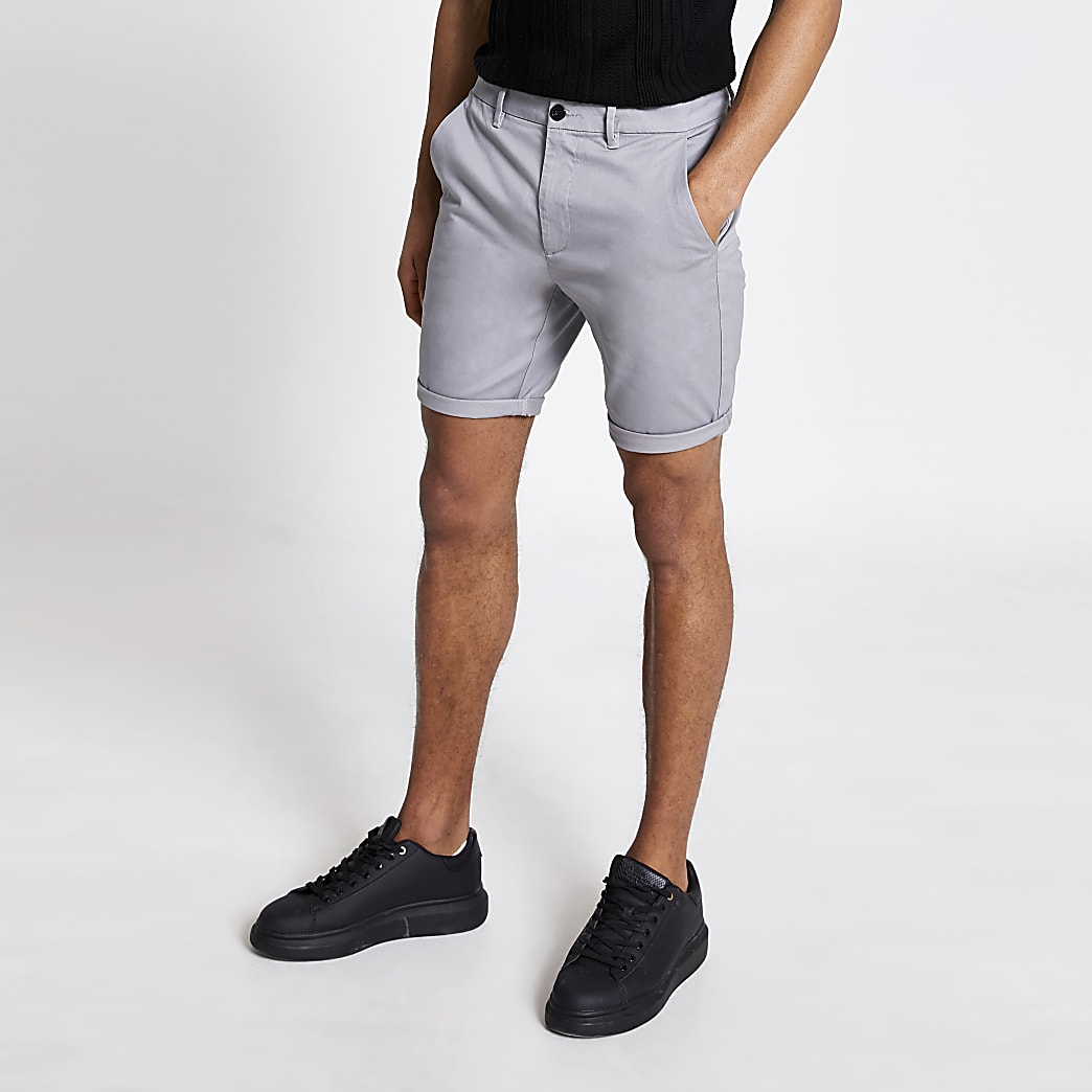 Grey skinny fit chino short