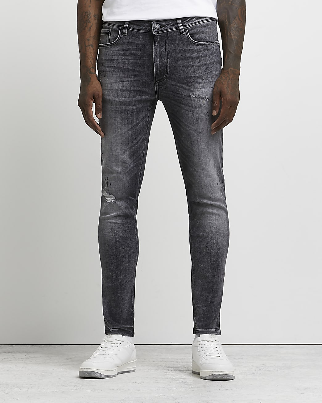 Grey skinny fit ripped jeans