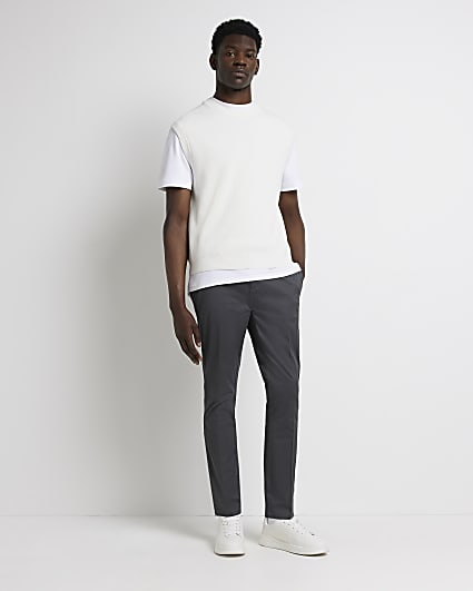 Grey skinny fit smart chino trousers
