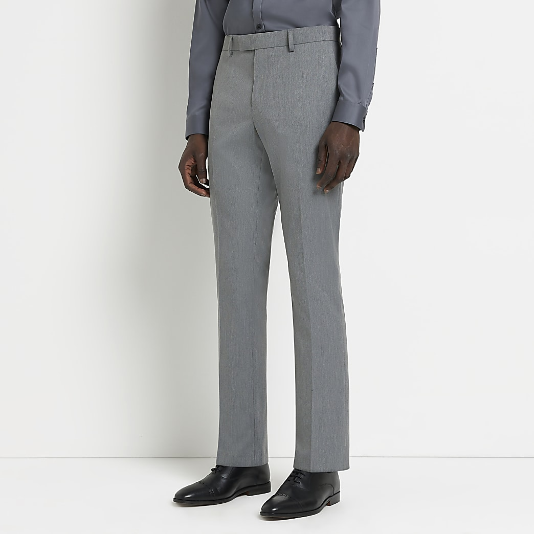 Grey skinny fit twill suit trousers