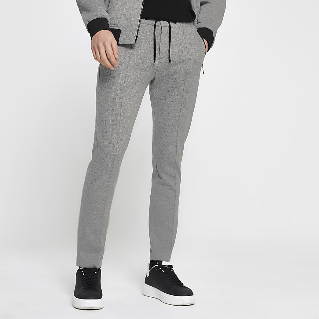 Grey skinny fit zip joggers