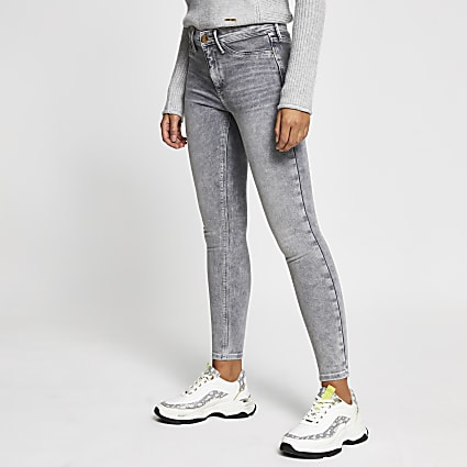Grey skinny mid rise Molly jeggings