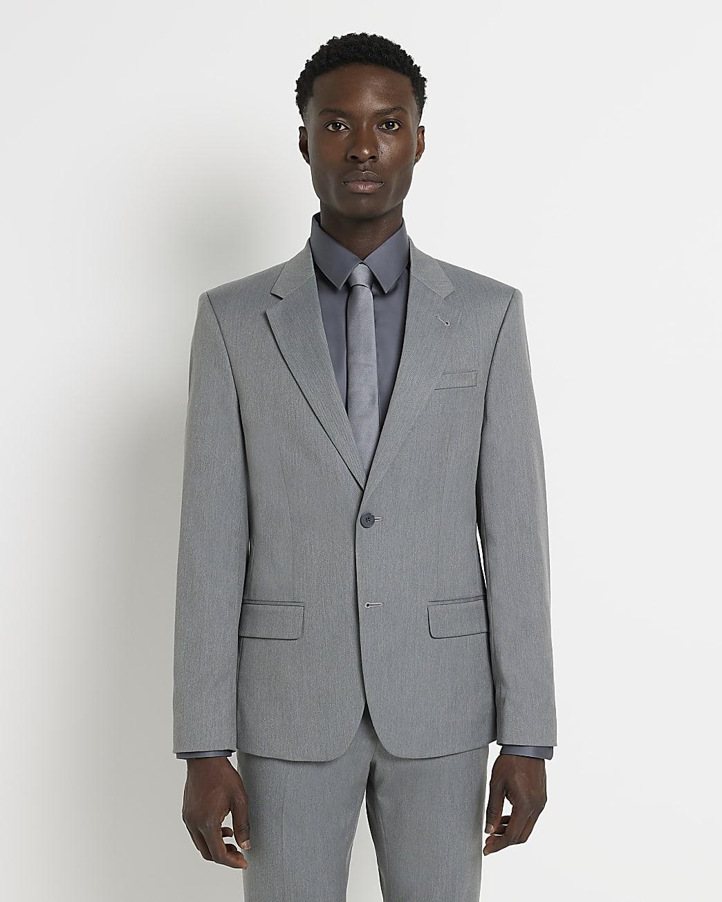 Grey skinny twill suit jacket