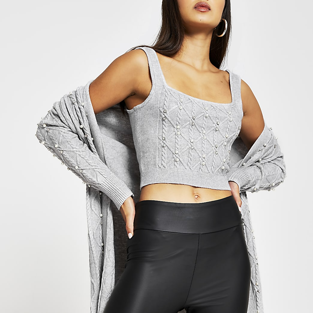 Grey sleeveless crop pearl embellished top
