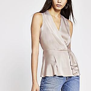 Grey sleeveless wrap top