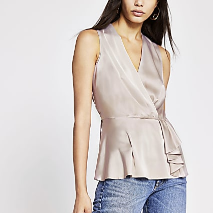 Grey sleeveless wrap top