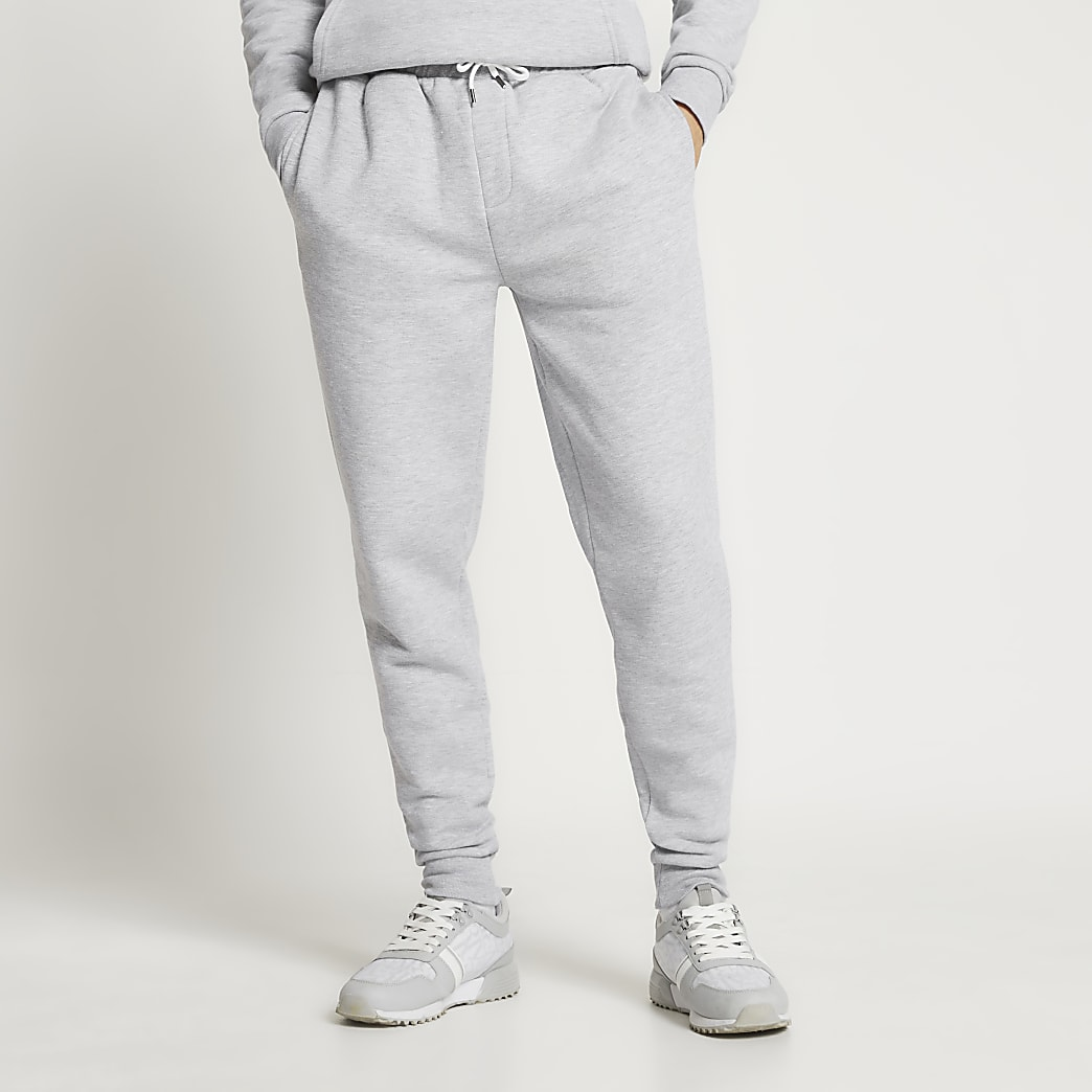 Grey slim fit basic joggers