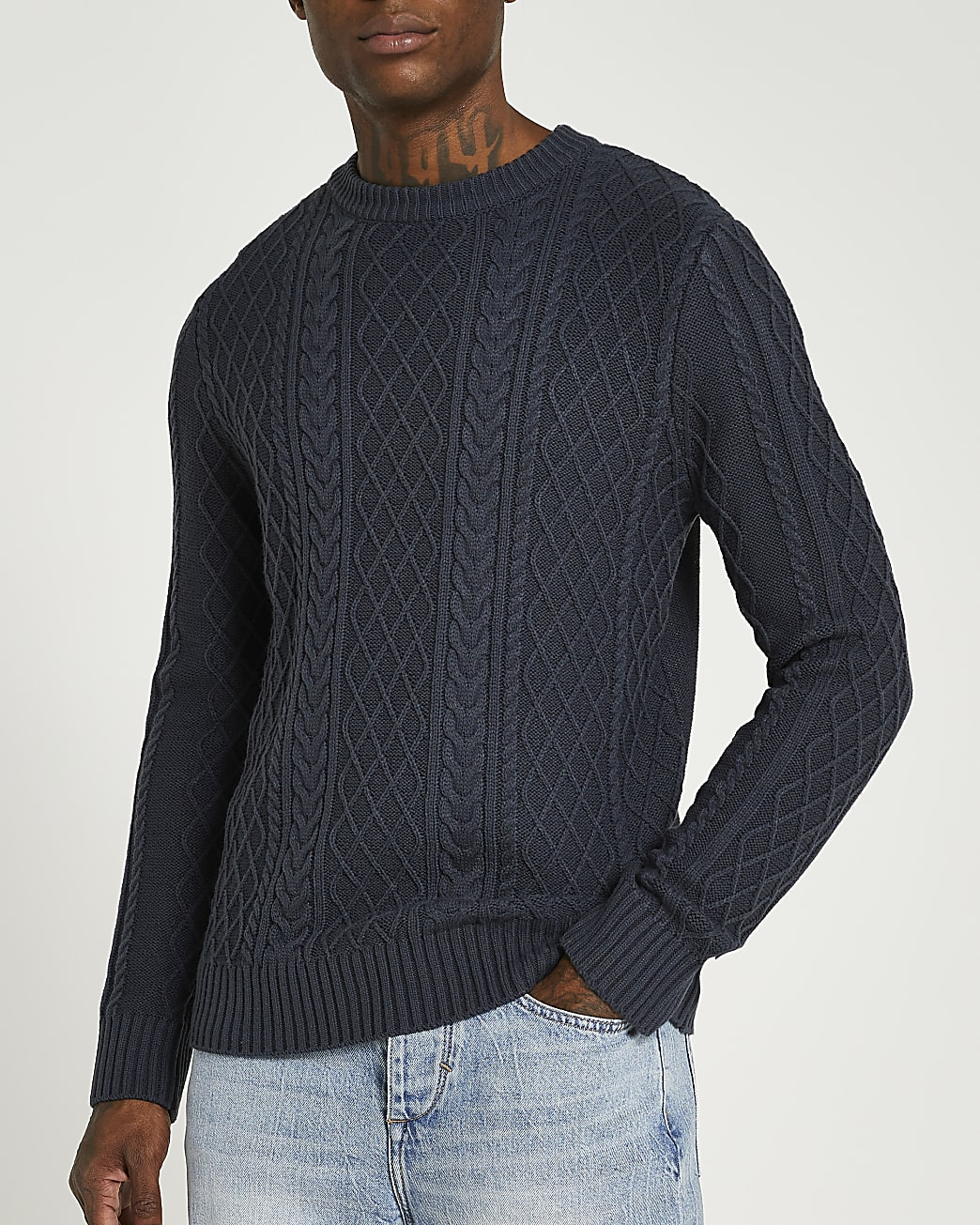 Grey slim fit cable knit jumper