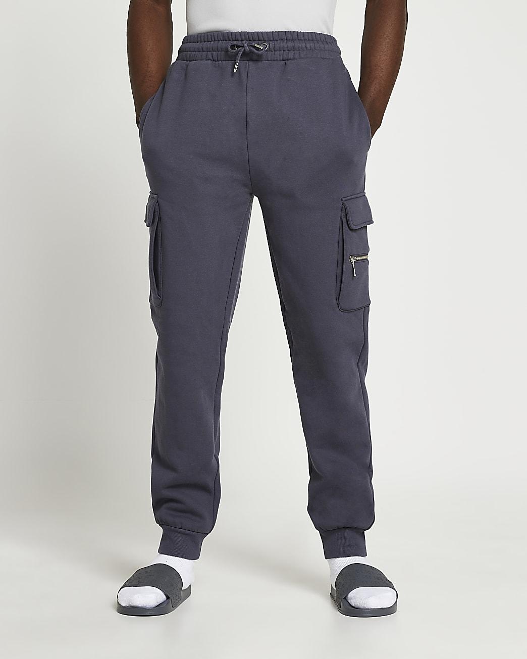 Grey slim fit cargo joggers