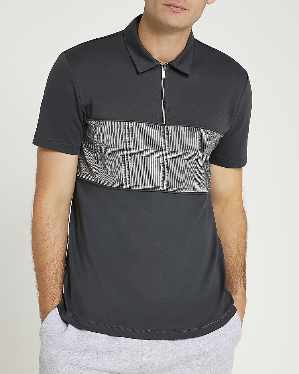 Grey slim fit check block polo shirt