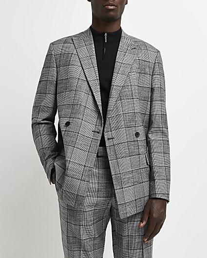 Grey slim fit check print suit jacket