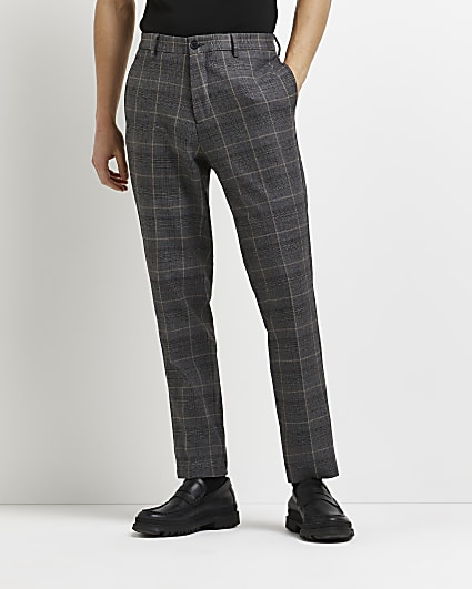 Grey slim fit check print trousers