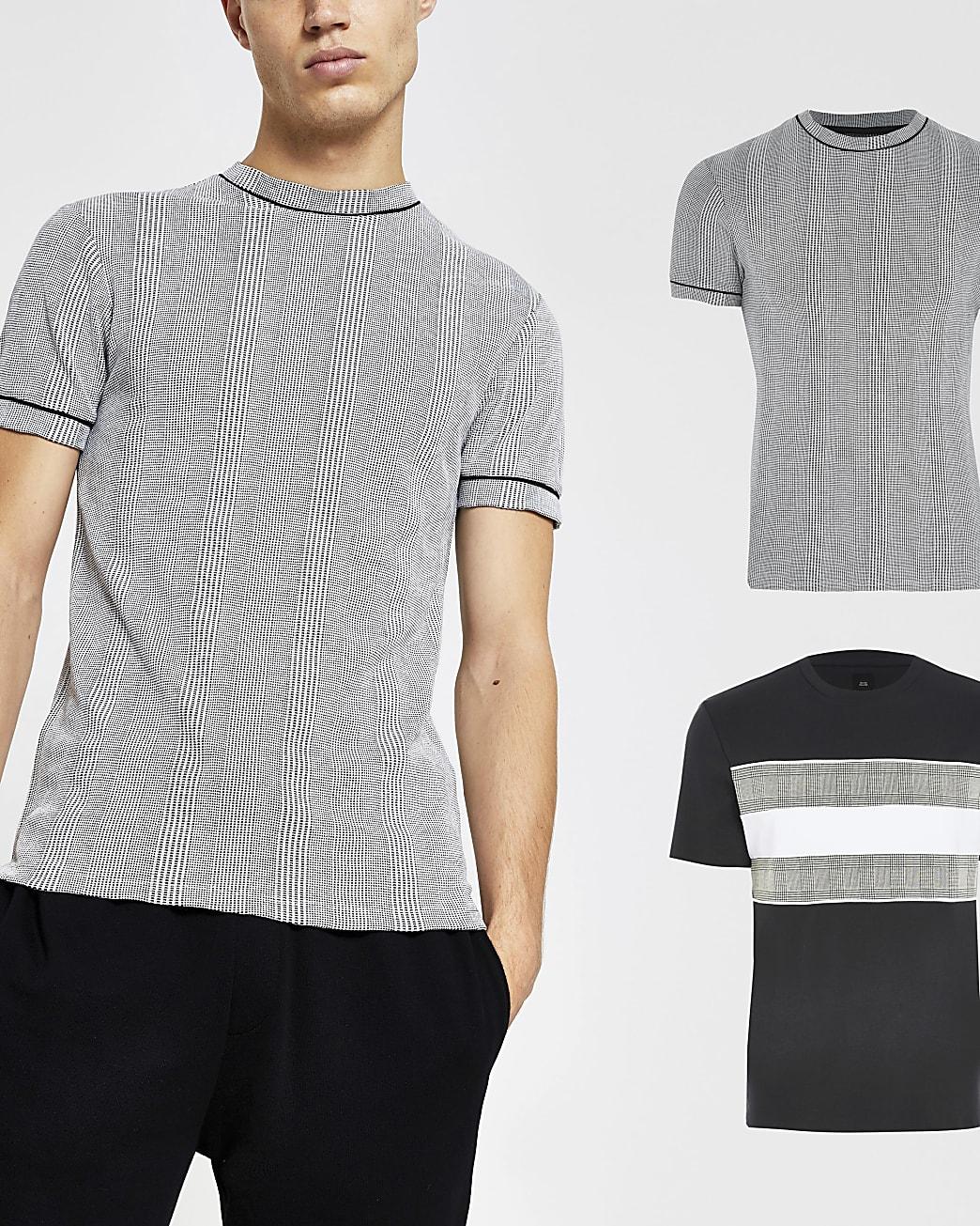 Grey slim fit check t-shirt 2 pack