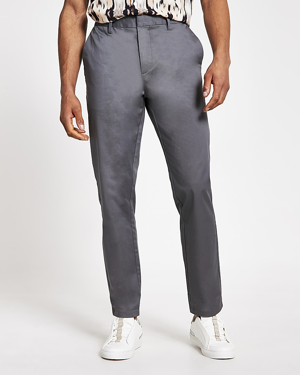 Grey slim fit chino trousers
