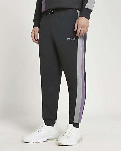 Grey slim fit colour block joggers