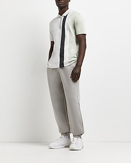 Grey slim fit colour block polo shirt