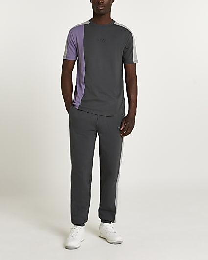 Grey slim fit colour block t-shirt