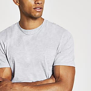 Grey slim fit crew neck T-shirt