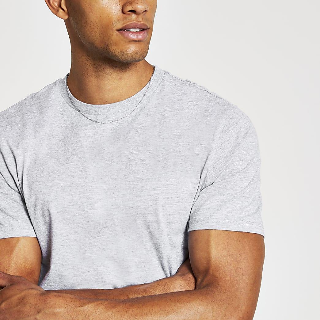 Grey slim fit crew neck T-shirt